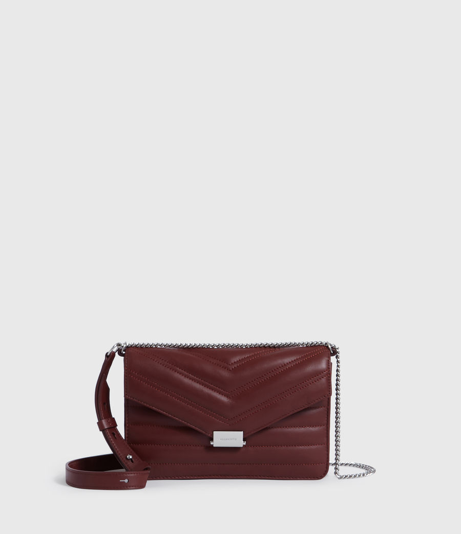 Womens Justine Small Leather Flap Crossbody Bag (brick_red) - Image 1