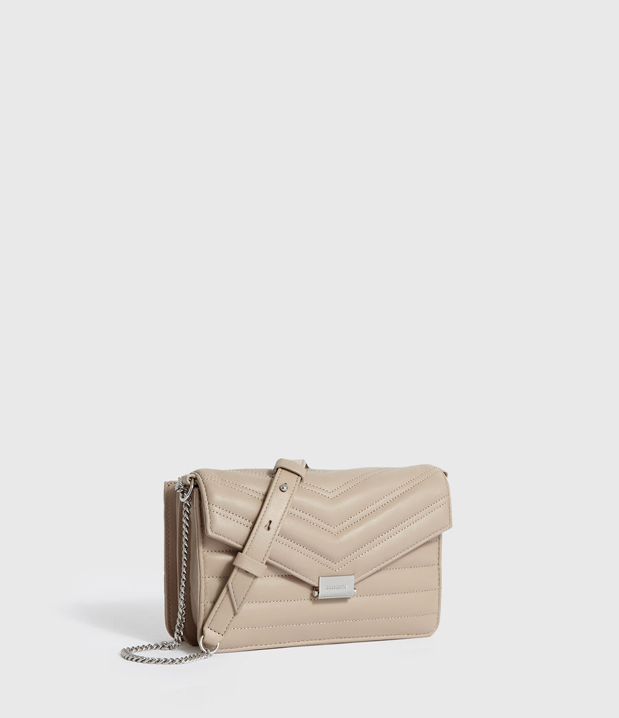 Women's Justine Small Leather Flap Crossbody Bag (sandstone) - Image 3