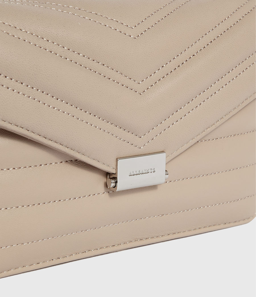 Women's Justine Small Leather Flap Crossbody Bag (sandstone) - Image 4