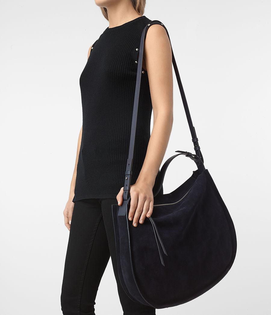 Femmes Grand sac hobo Kanda en cuir velours (dark_blue) - Image 2