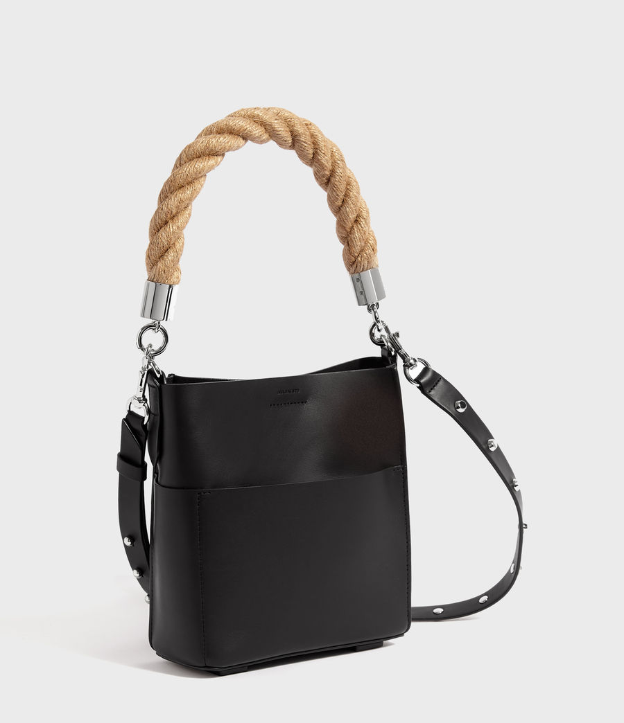 Womens Harri Leather Mini North South Tote Bag (black) - Image 3