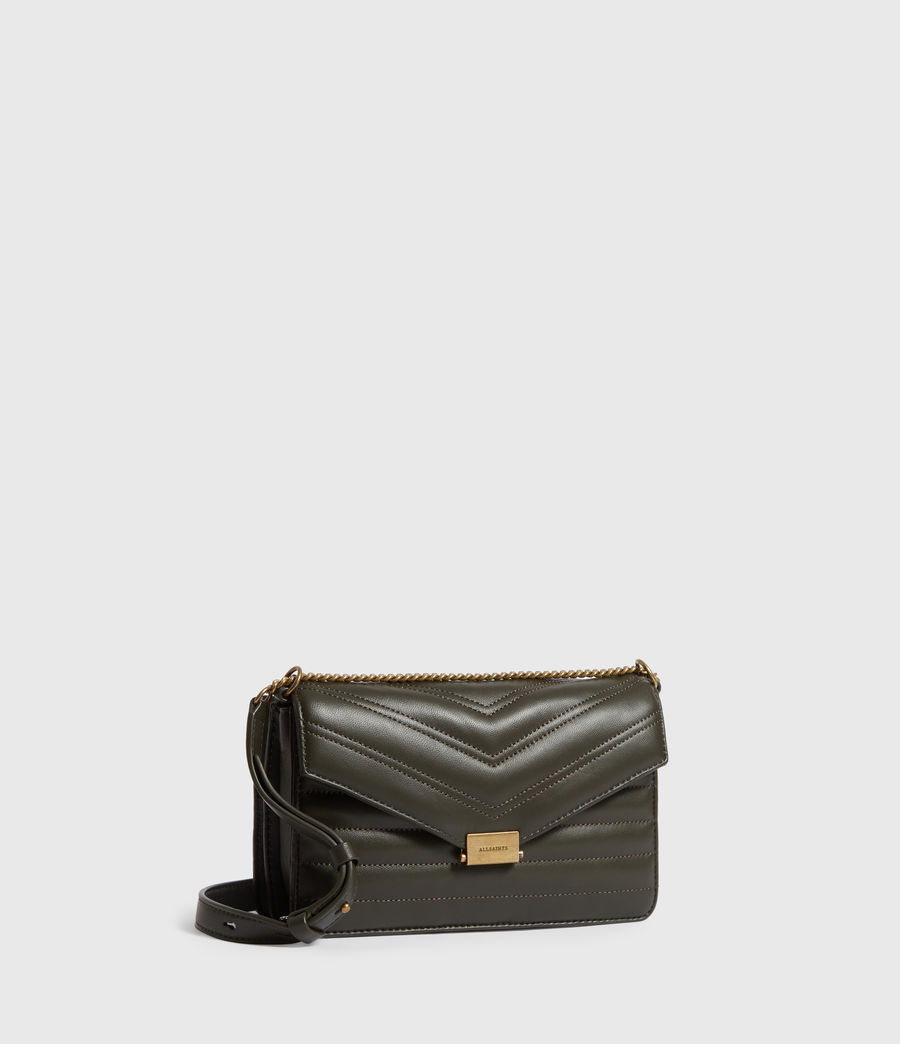 Womens Justine Small Leather Crossbody Bag (khaki_green) - Image 3