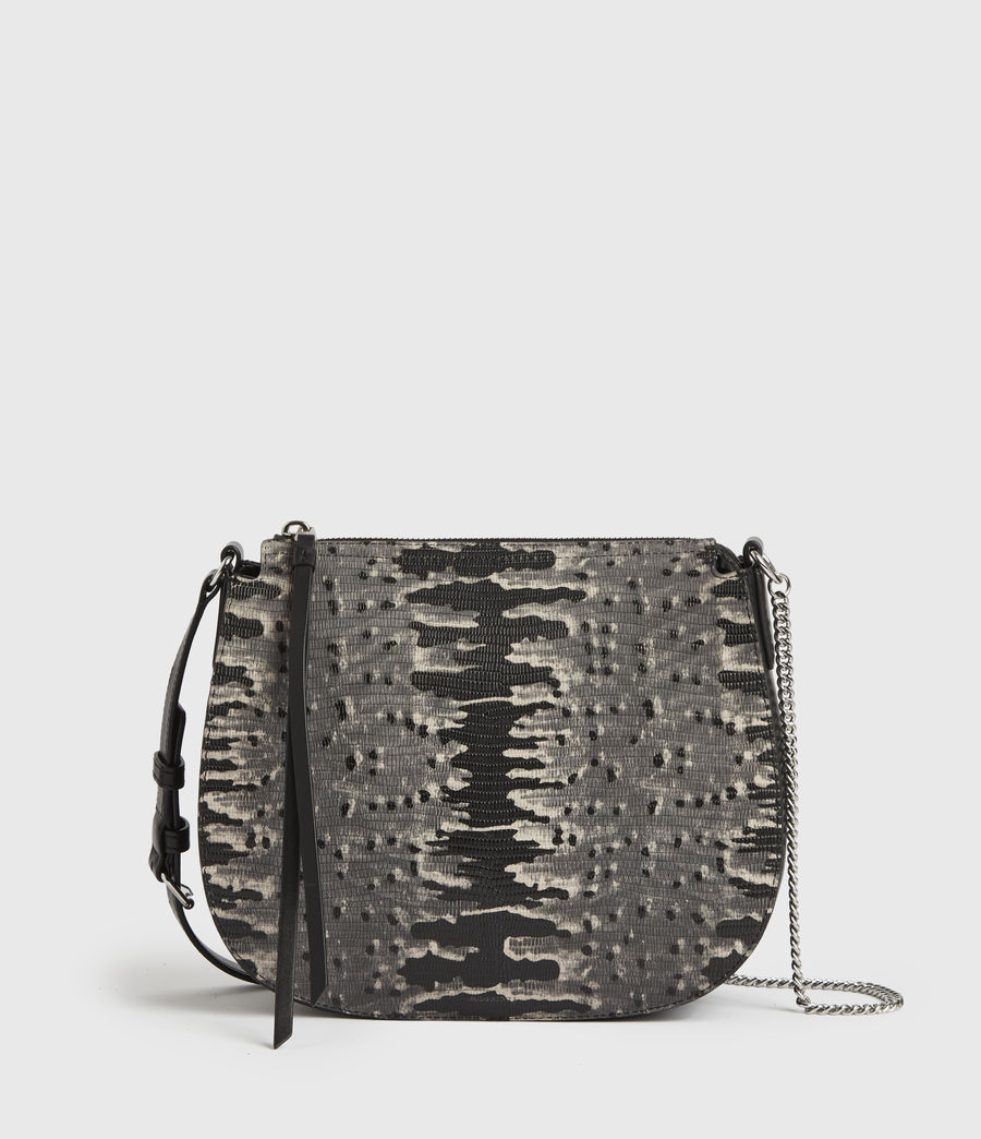 Damen Runde Leder Crossbodytasche Elsworth (grey_multi) - Image 1