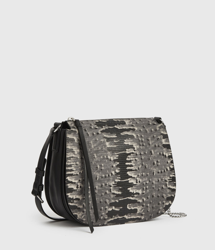 Damen Runde Leder Crossbodytasche Elsworth (grey_multi) - Image 3