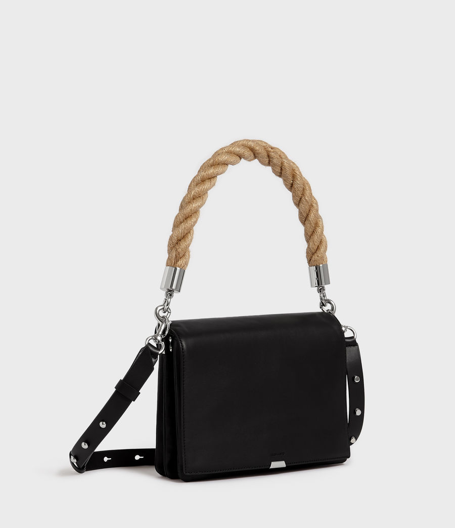 Womens Harri Leather Square Crossbody Bag (black) - Image 3