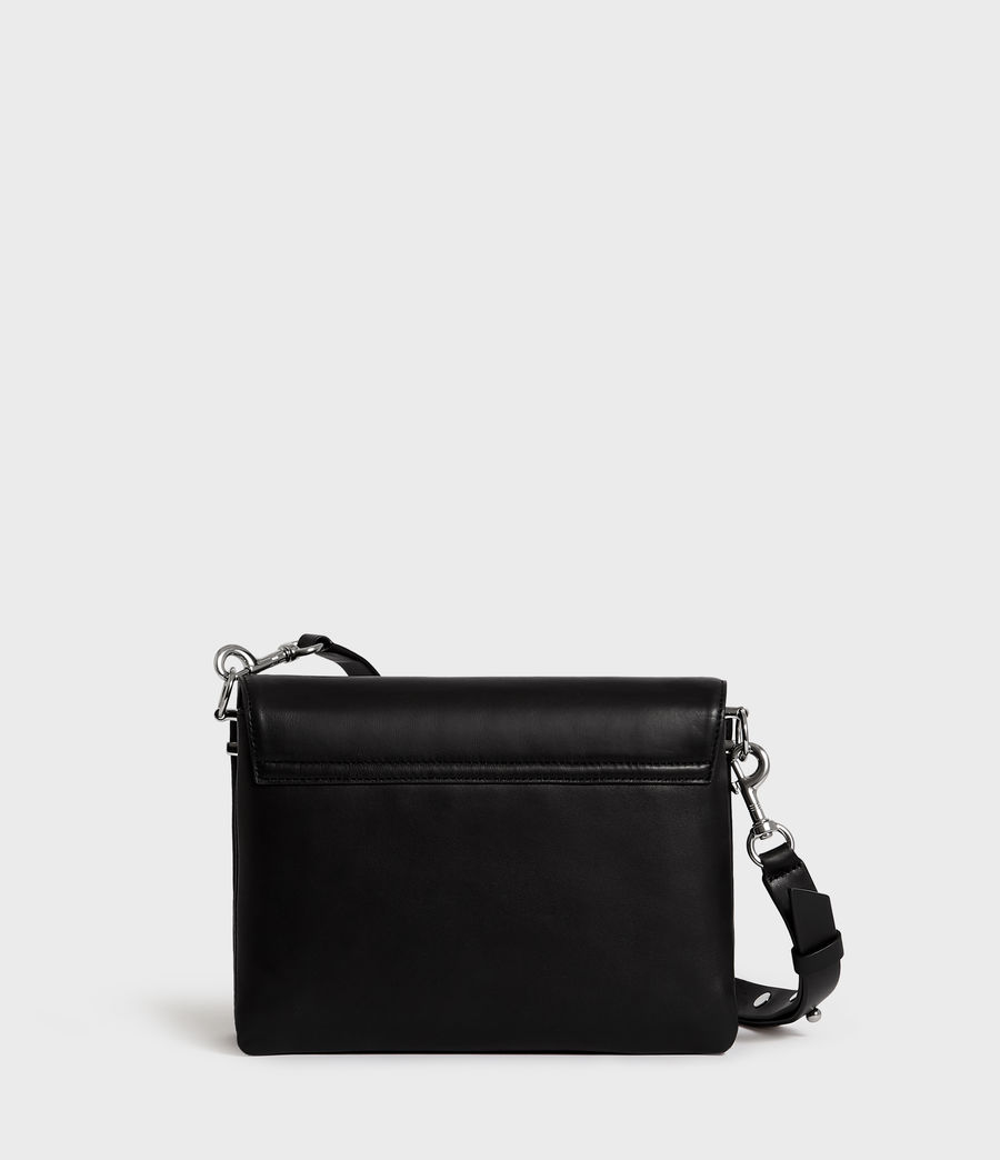 Womens Harri Leather Square Crossbody Bag (black) - Image 7