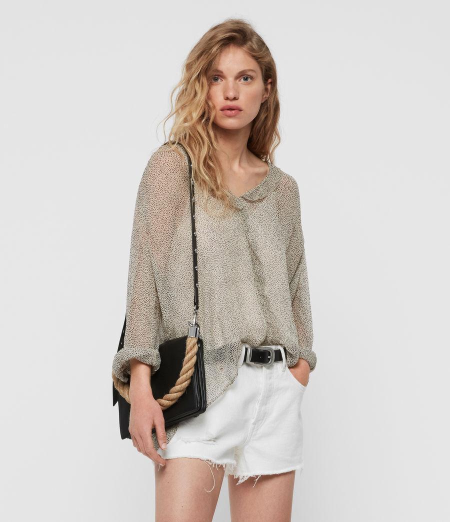 Women's Harri Leather Square Crossbody Bag (black) - Image 8