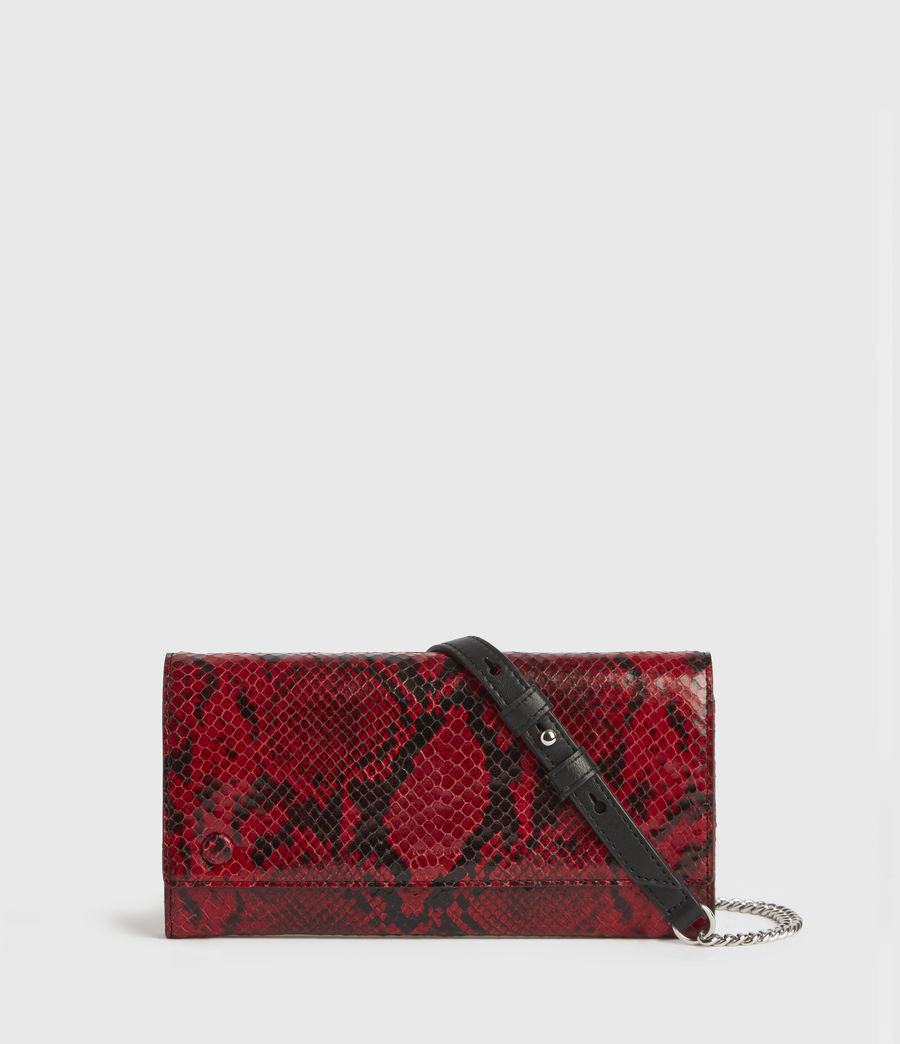 Womens Darlina Chain Leather Wallet (red) - Image 1