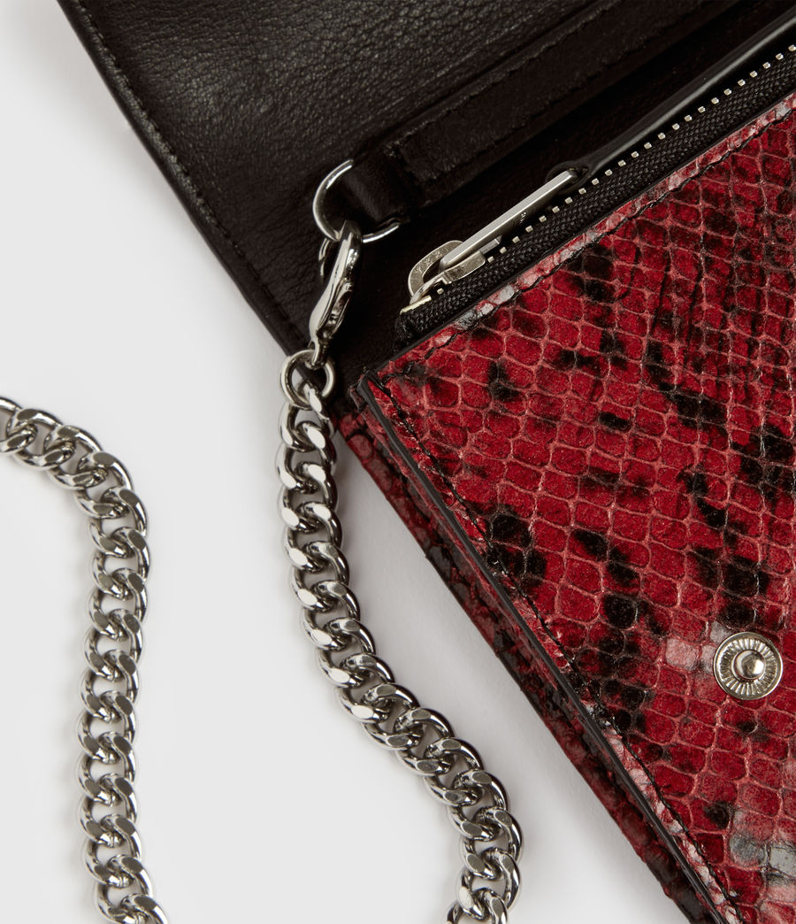 Womens Darlina Chain Leather Wallet (red) - Image 3