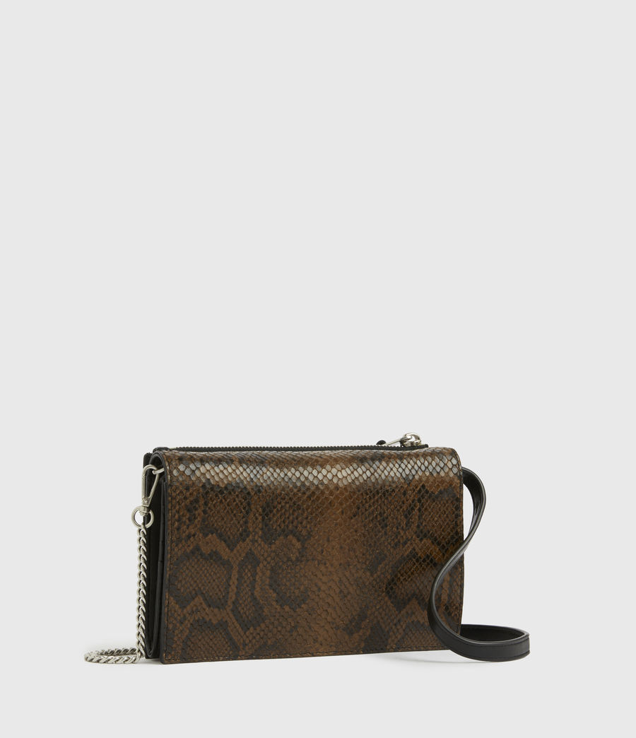 Women's Claremount Leather Chain Snake Crossbody Bag (light_olive) - Image 3