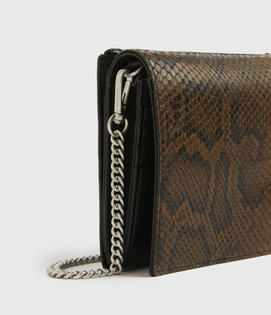 Womens Claremount Leather Chain Snake Crossbody Bag (light_olive) - Image 4