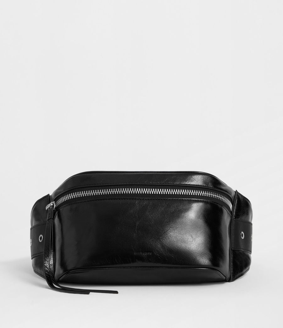 Women's Clip Leather Bumbag (black) - Image 1