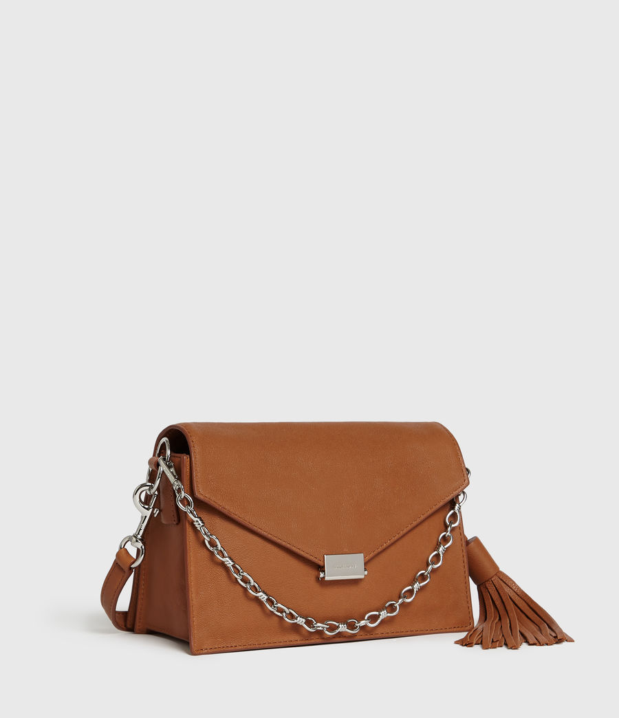 Womens Miki Leather Crossbody Bag (tan) - Image 3