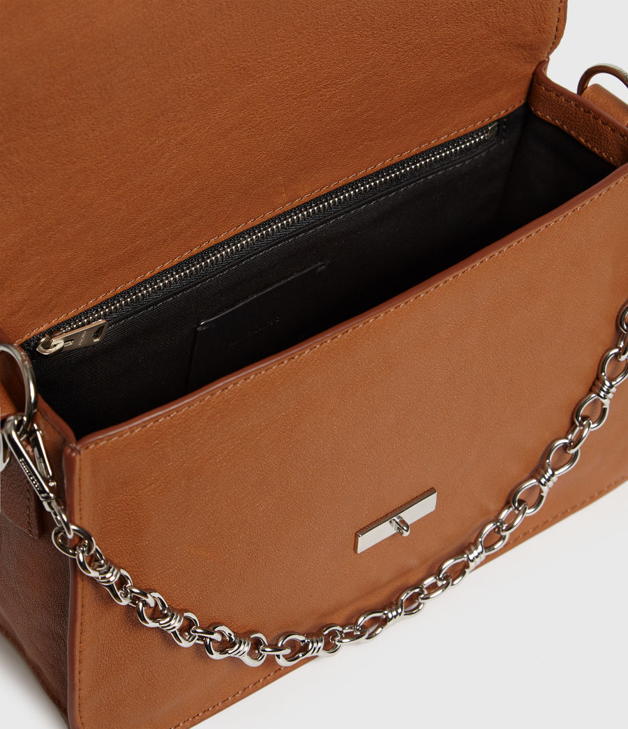 Womens Miki Leather Crossbody Bag (tan) - Image 4