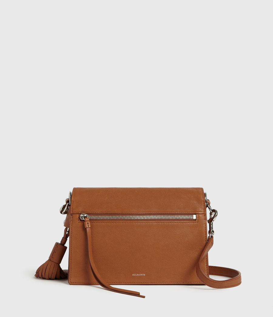 Womens Miki Leather Crossbody Bag (tan) - Image 7