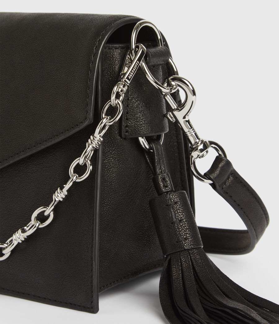 Womens Miki Leather Crossbody Bag (black) - Image 6