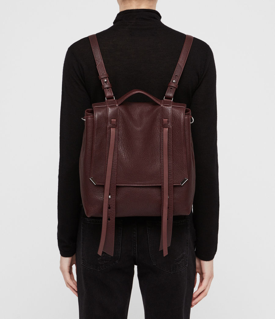 Womens Vincent Leather Backpack (port_burgundy) - Image 2
