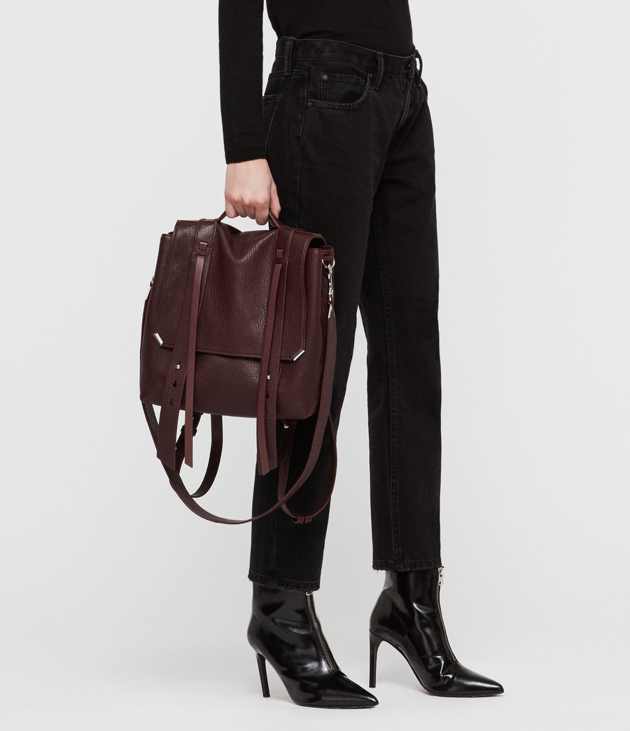 Womens Vincent Leather Backpack (port_burgundy) - Image 3
