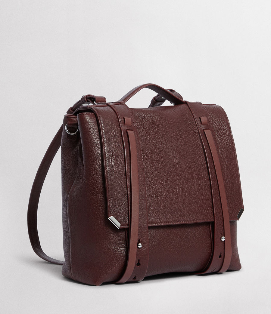 Womens Vincent Leather Backpack (port_burgundy) - Image 4