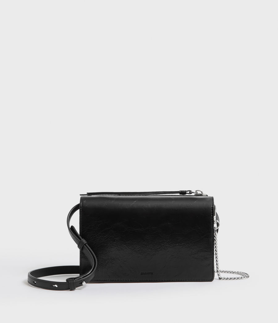 Women's Fetch Leather Chain Wallet Crossbody Bag (black) - Image 1