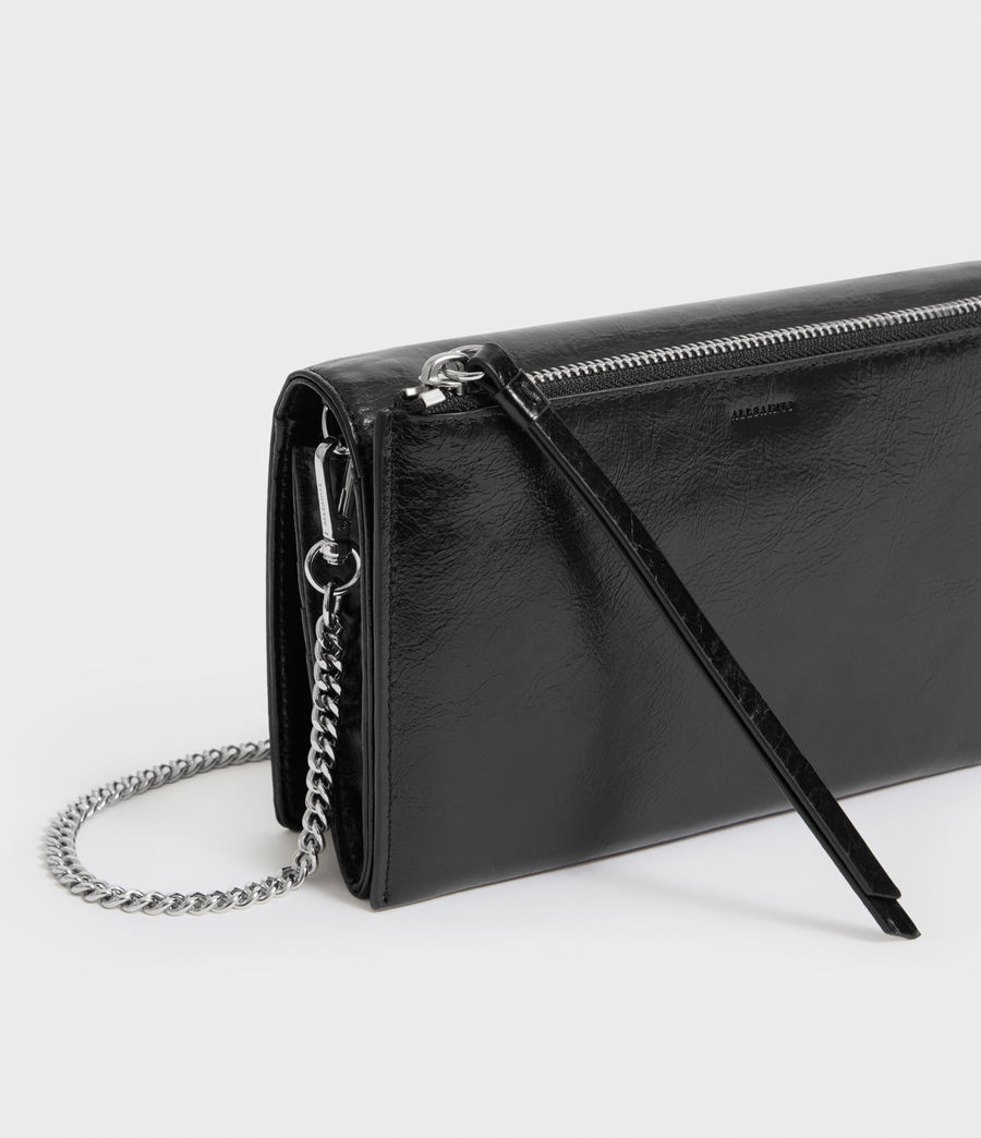 Women's Fetch Leather Chain Wallet Crossbody Bag (black) - Image 2