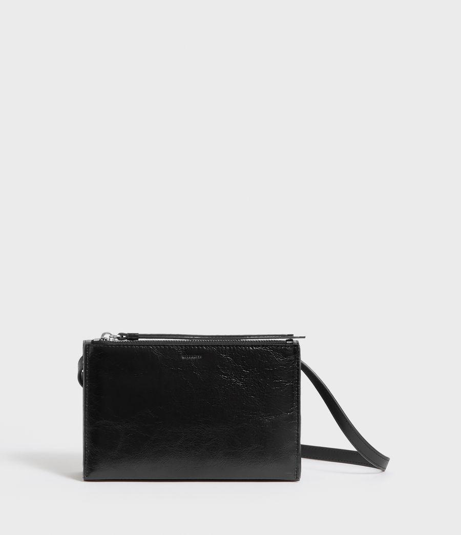 Women's Fetch Leather Chain Wallet Crossbody Bag (black) - Image 3