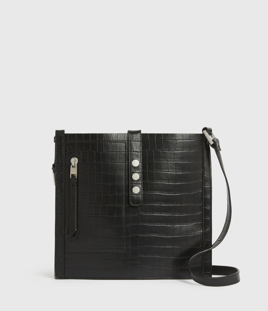 Womens Alexandia Crocodile North South Leather Tote Bag (black) - Image 2