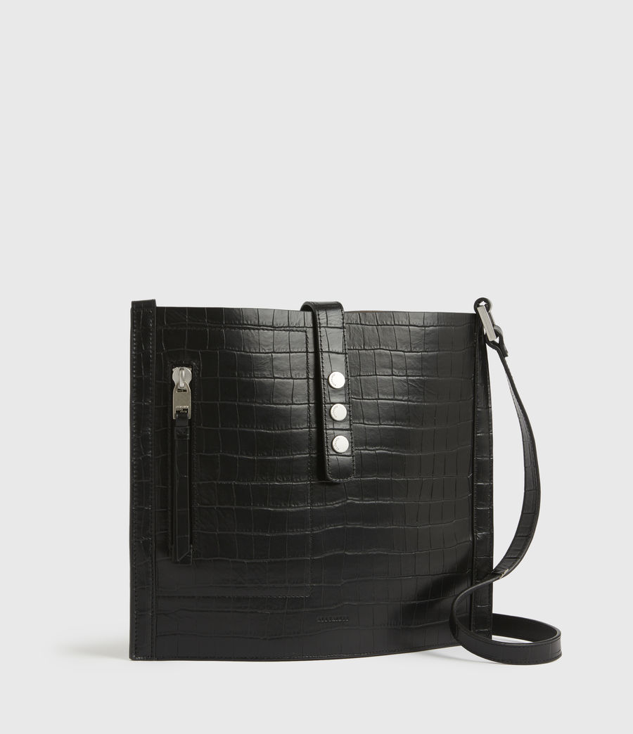 Womens Alexandia Crocodile North South Leather Tote Bag (black) - Image 4