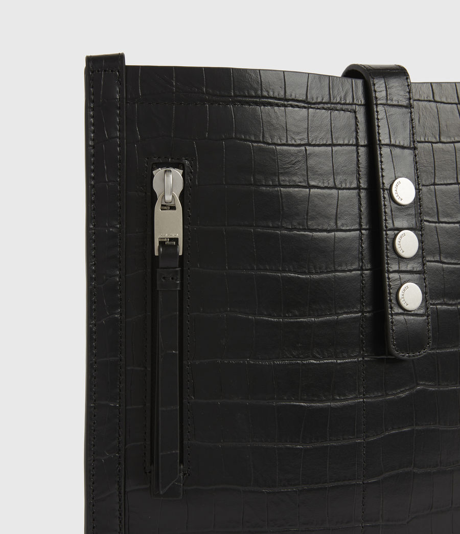 Womens Alexandia Crocodile North South Leather Tote Bag (black) - Image 7