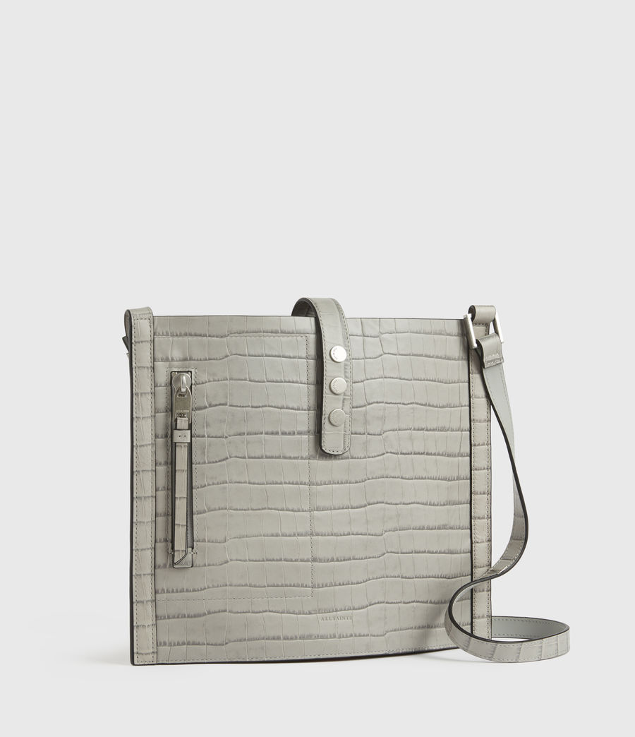 Womens Alexandia Crocodile North South Leather Tote Bag (glacier_grey) - Image 5