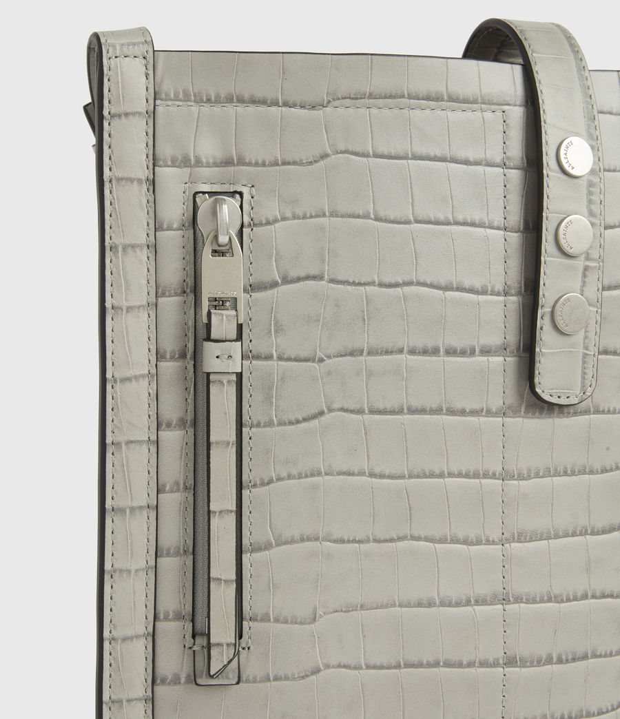 Women's Alexandia Crocodile North South Leather Tote Bag (glacier_grey) - Image 8