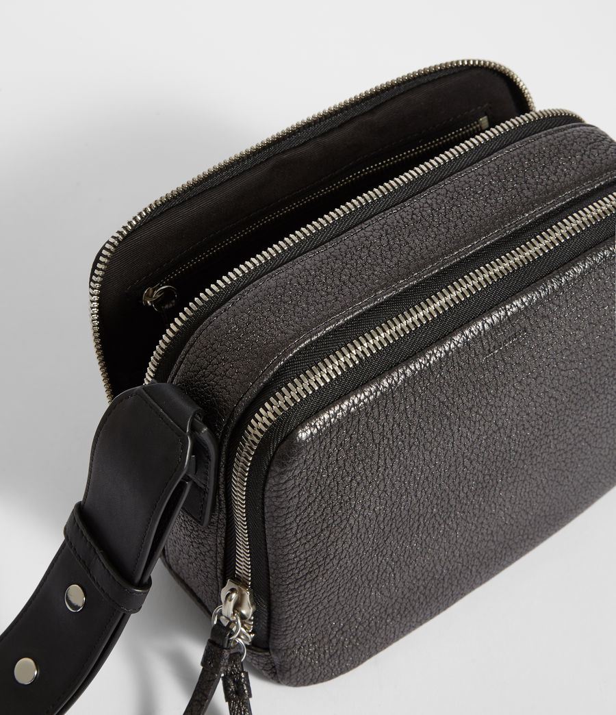 Women's Vincent Leather Crossbody Bag (gunmetal_grey) - Image 5