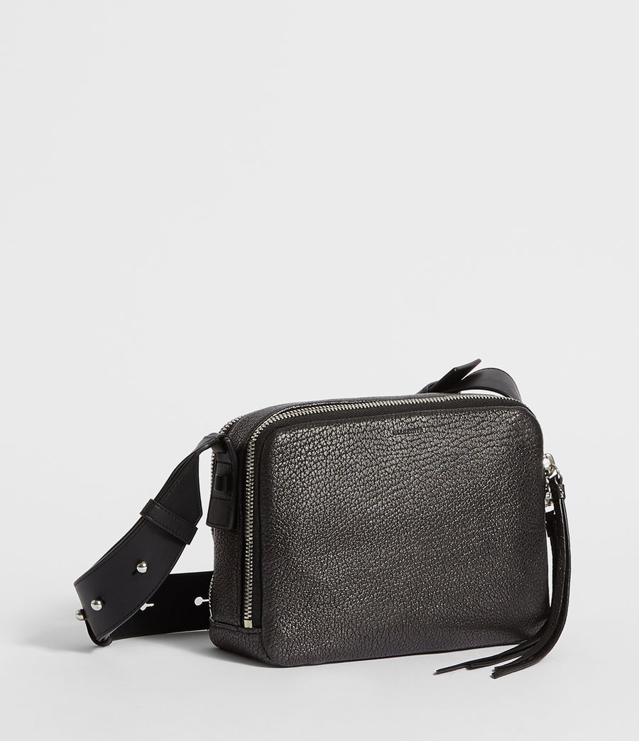 Women's Vincent Leather Crossbody Bag (gunmetal_grey) - Image 6