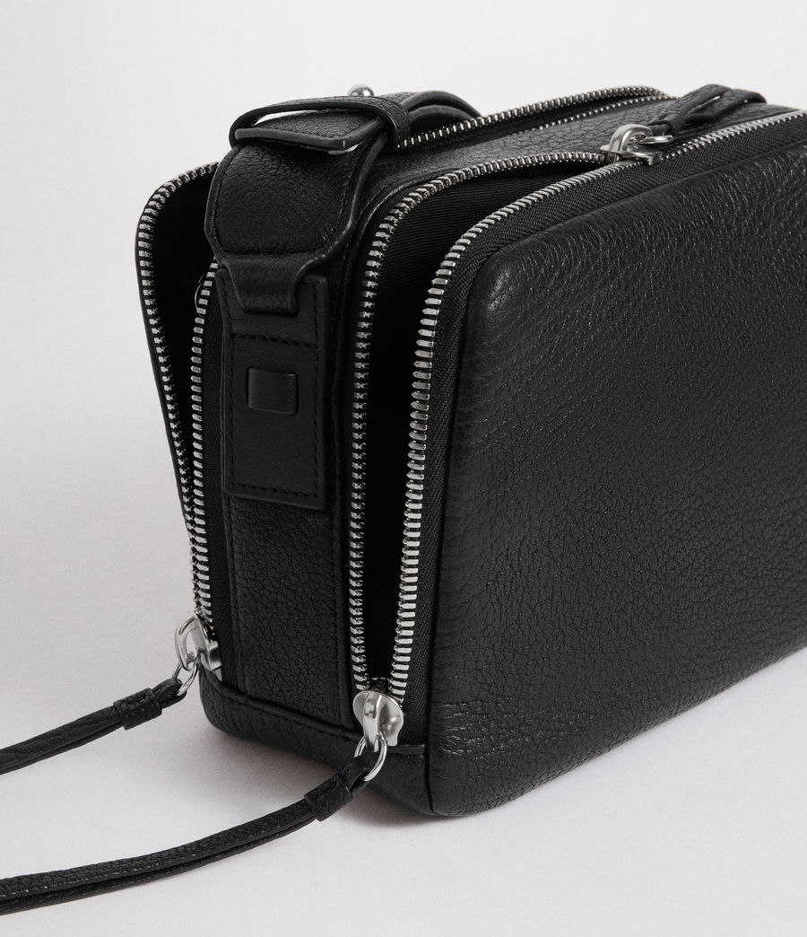 Womens Vincent Leather Crossbody Bag (black) - Image 4