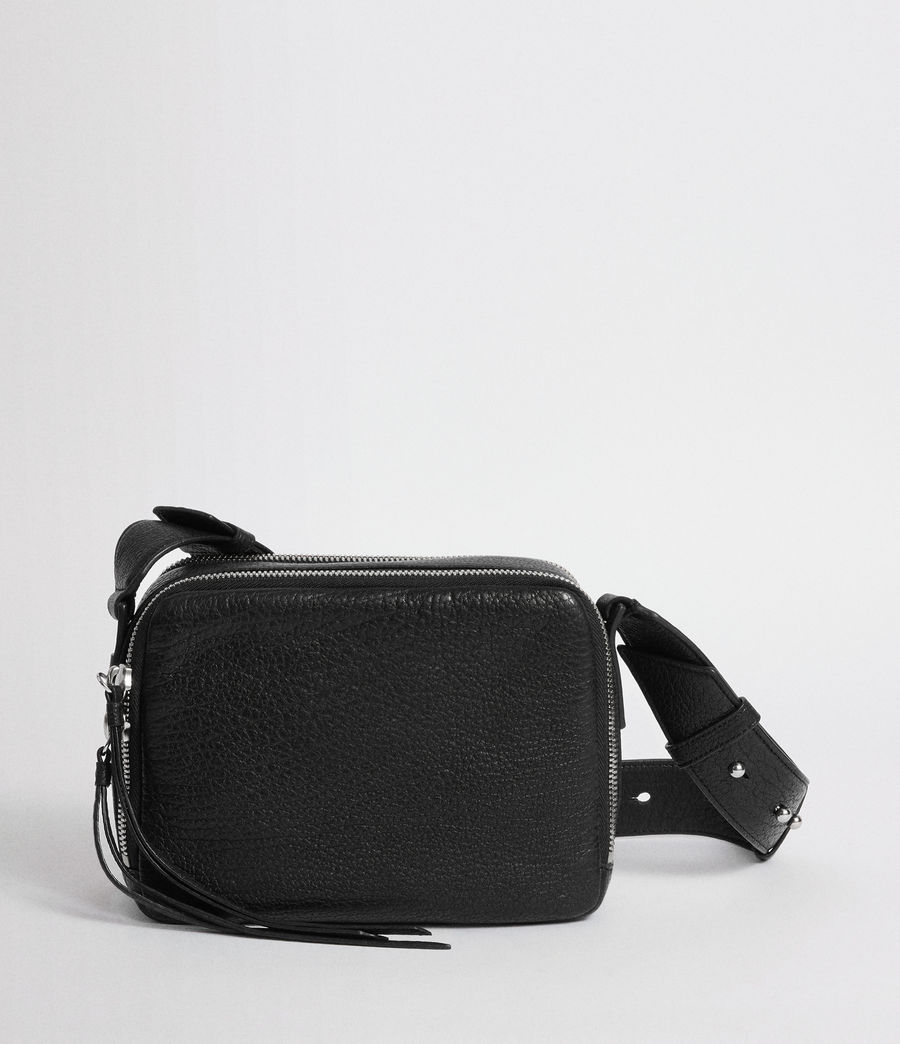Womens Vincent Leather Crossbody Bag (black) - Image 6
