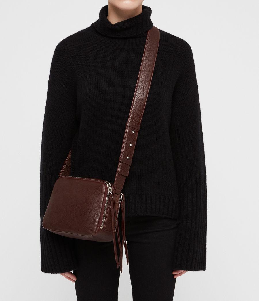 Women's Vincent Leather Crossbody Bag (port_burgundy) - Image 2