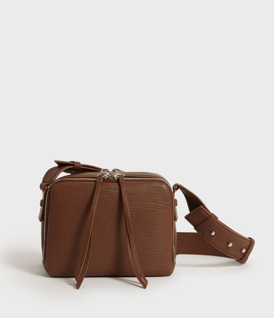 Womens Vincent Leather Crossbody Bag (chocolate_brown) - Image 1