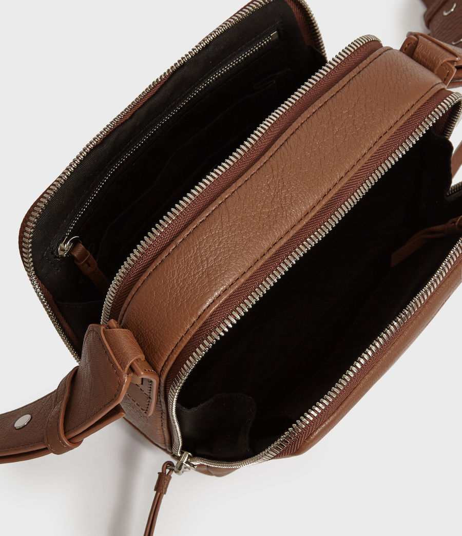Womens Vincent Leather Crossbody Bag (chocolate_brown) - Image 5
