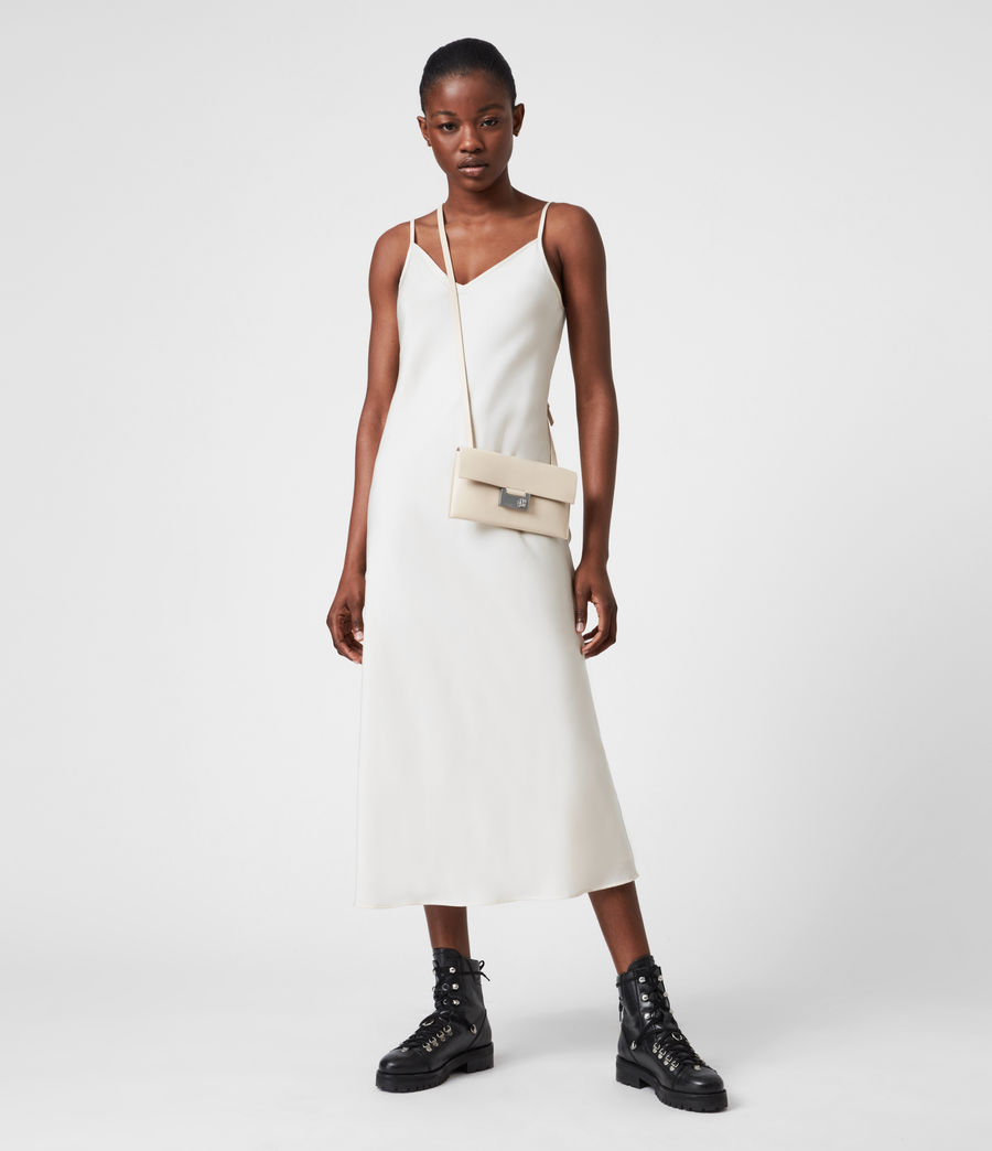 Women's Francoise Leather Crossbody Bag (parchment_white) - Image 4