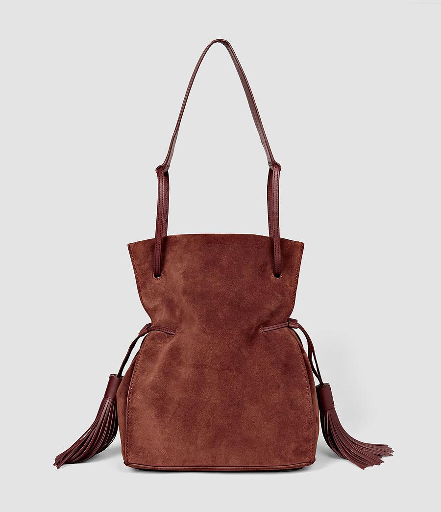 Femmes Sac seau Freedom en cuir velours (brick_brown) - Image 1