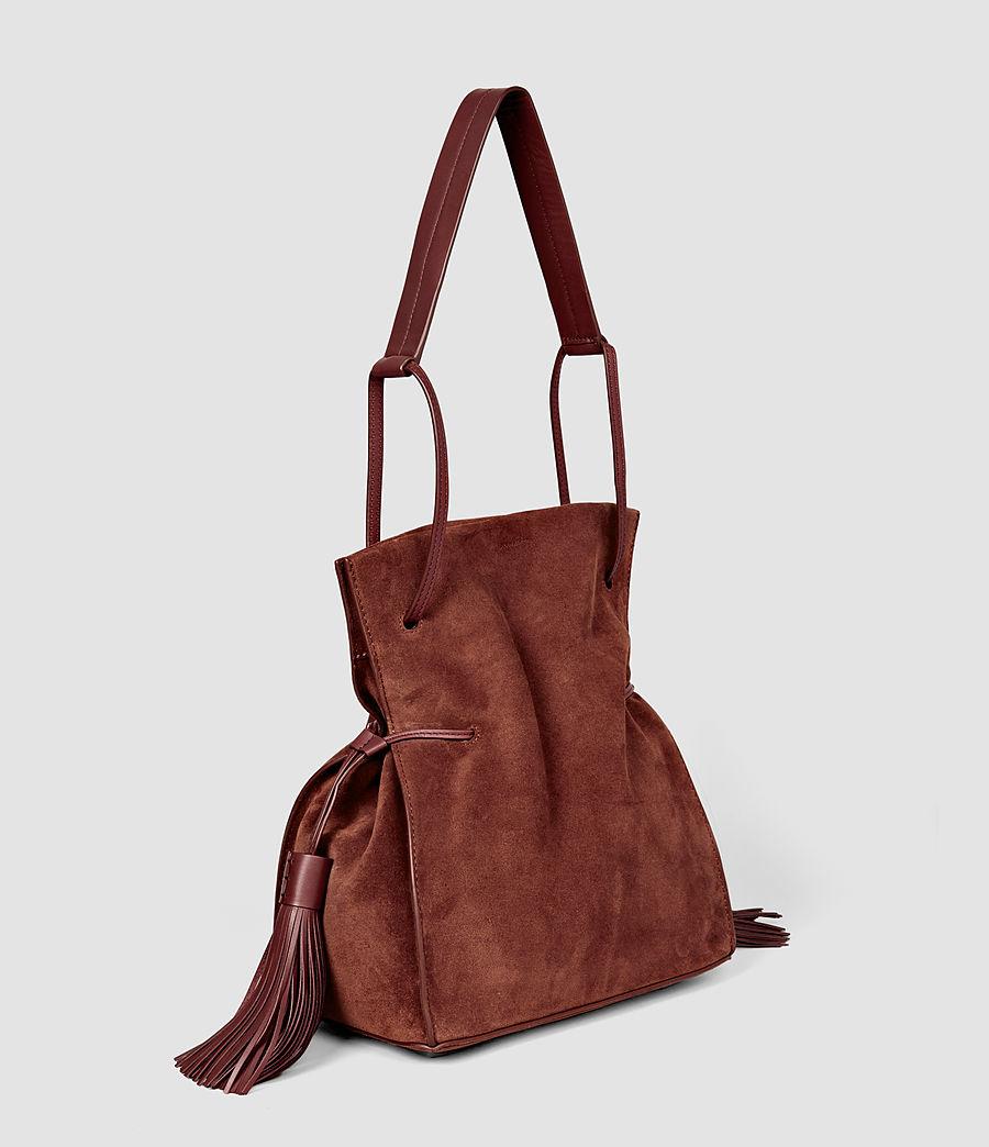 Femmes Sac seau Freedom en cuir velours (brick_brown) - Image 3
