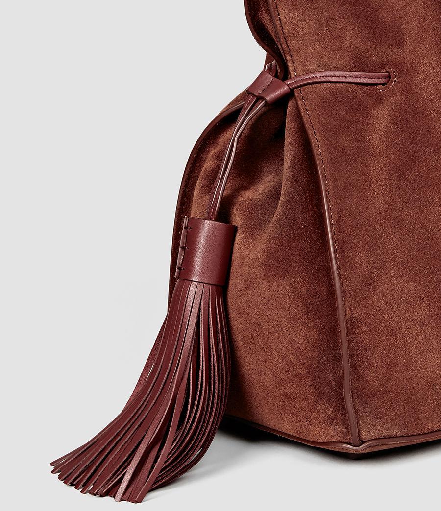 Femmes Sac seau Freedom en cuir velours (brick_brown) - Image 4