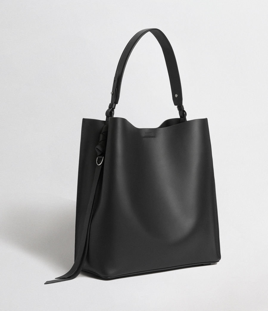 Womens Voltaire Leather North South Tote Bag (black) - Image 7