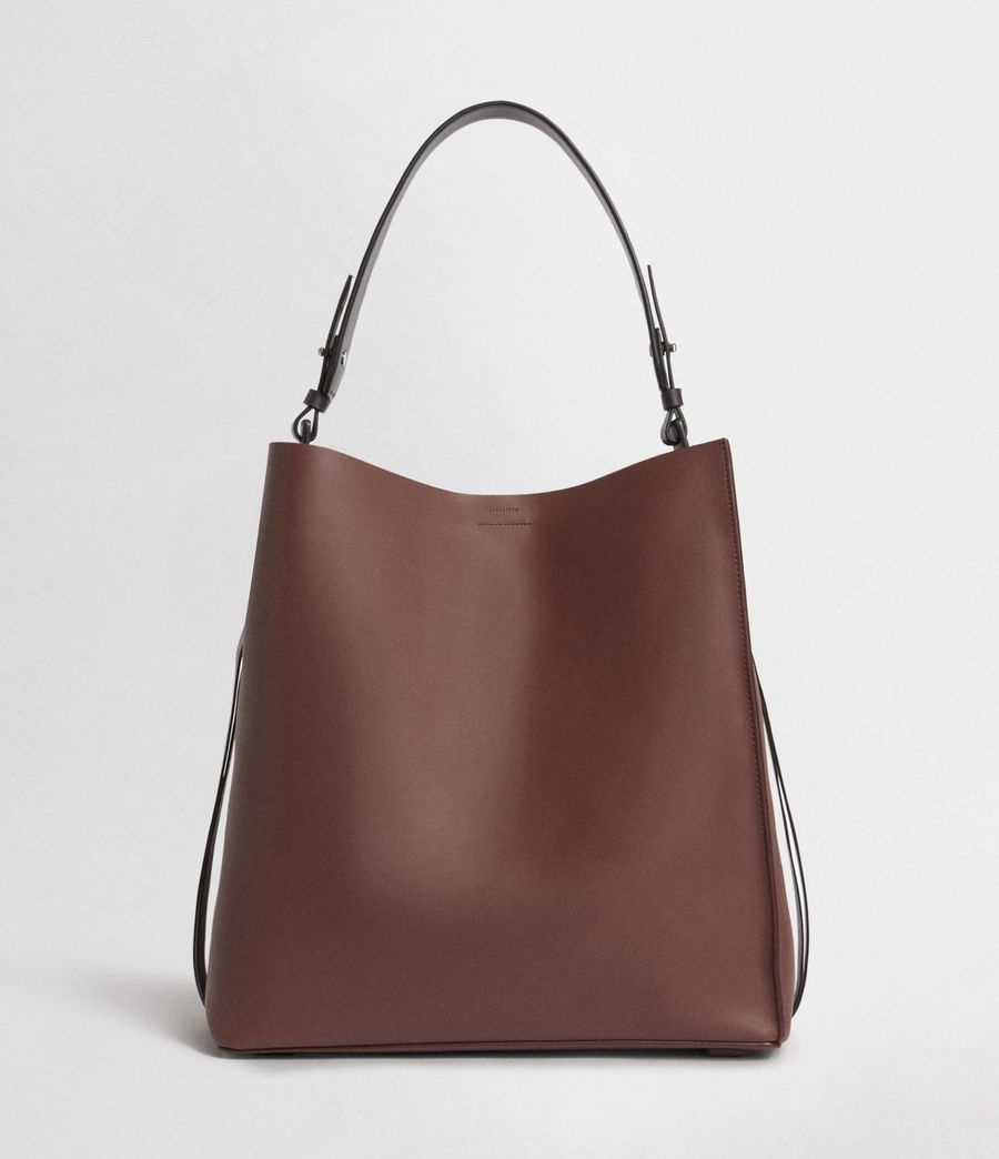 Women's Voltaire North South Leather Tote (port_burgdy_blk_be) - Image 1