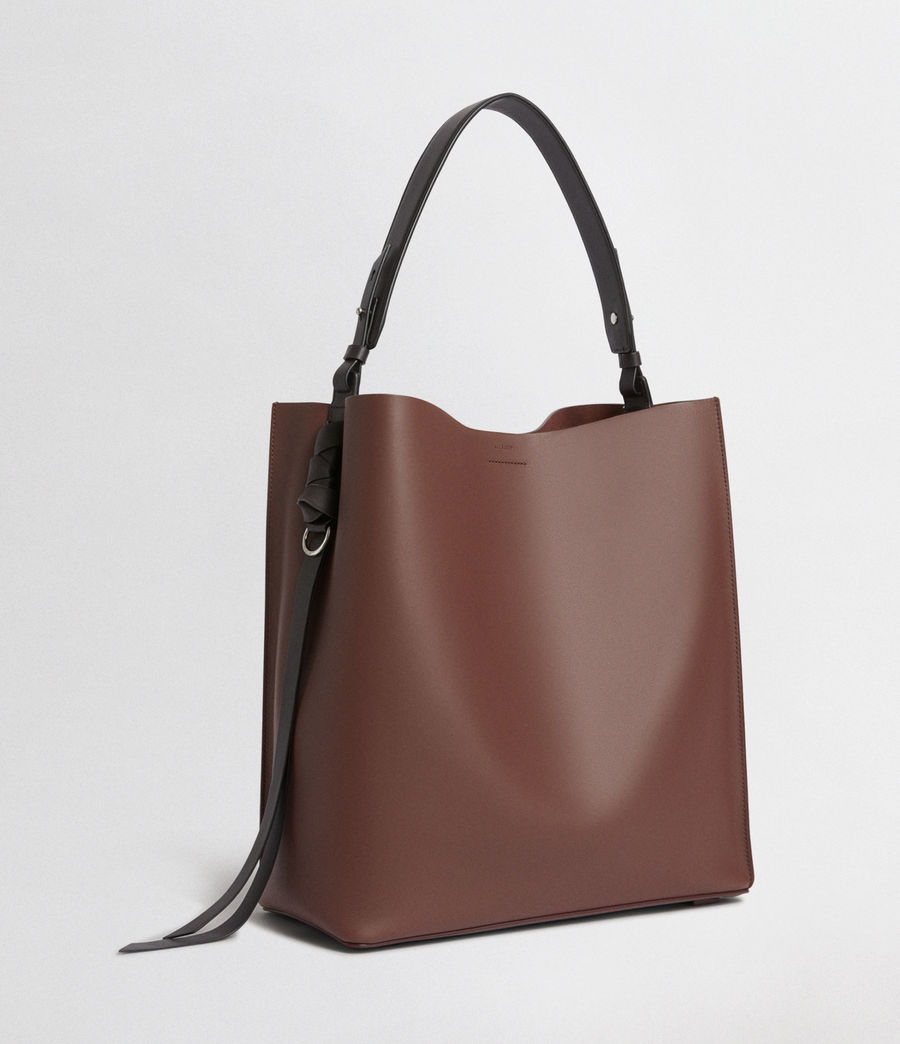 Mujer Voltaire North South Leather Tote (port_burgdy_blk_be) - Image 4
