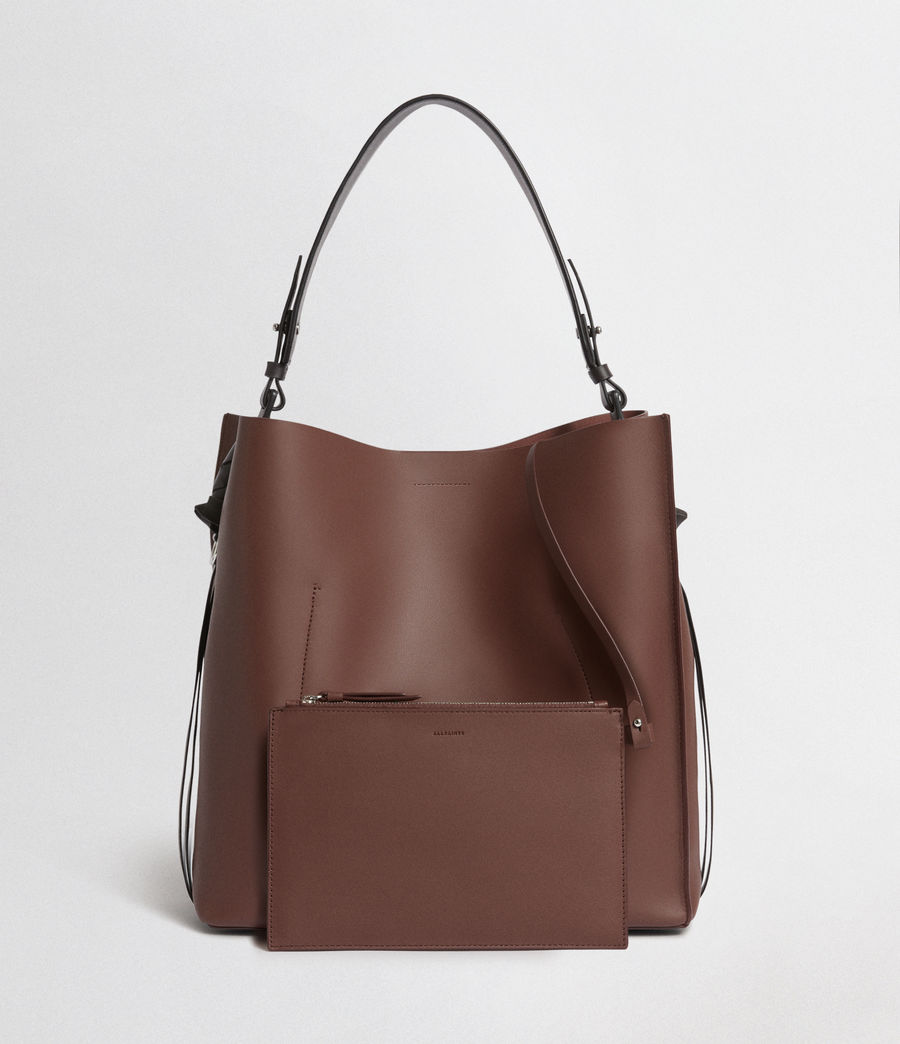 Mujer Voltaire North South Leather Tote (port_burgdy_blk_be) - Image 5