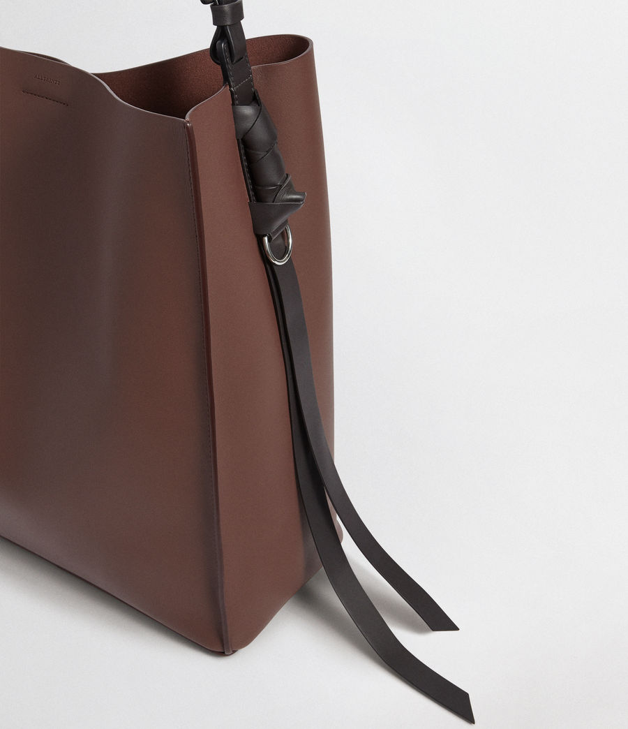 Mujer Voltaire North South Leather Tote (port_burgdy_blk_be) - Image 8