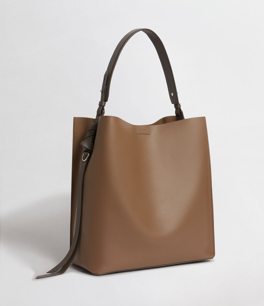 Damen Voltaire Leder North South Tragetasche (luggage_chocolate) - Image 6