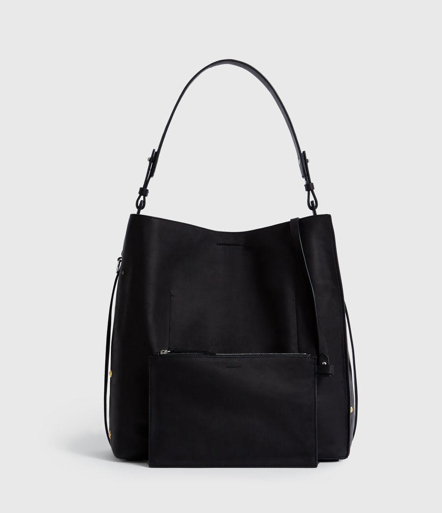 Womens Mazzy North South Leather Tote Bag (black) - Image 5