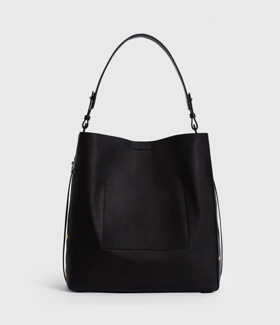 Womens Mazzy North South Leather Tote Bag (black) - Image 8